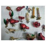Assorted Glass Clip on Ornaments and Glass Bird