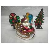 Dept 56 Large Glass Santa in Sleigh Ornament and