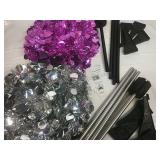 Pink Tinsel 5 Ft Pop Up Tree and Silver Tinsel 5