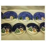 Cooks Club 3 Dinner Plates and 4 Ceramic Snowman