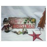 Light Up Merry Christmas sign, metal and snowman