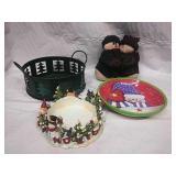 Green metal basket, Snowman candle holder,