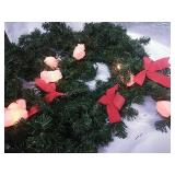 Decorated Garland - Pig Lights and Red Bows