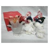 Studio Nova tulip glass footed candle holder, and