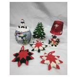 Ceramic Snowman Cookie Jar, Assorted Ornaments
