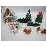 Assorted ceramic pieces - candle holder and decor