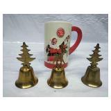 Ceramic Coke Cola Santa Mug and Trio of Brass