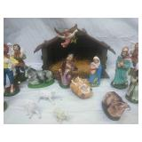 Vintage Nativity Scene with Extra Pieces