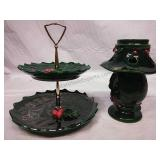 Lefton China 2 Tier Platter and Candleholder