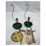 Pair of Vintage Green & Brass Candle Holders and