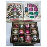Three boxes of Vintage Shiny Brite Glass