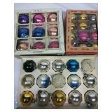 3 Boxes Vintage Glass Ornaments