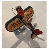 Tin Popeye The Pilot Toy (missing Back Wheel)