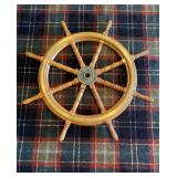 Wood Boat Wheel About 41 inches Overall