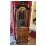 Antique Corner Hutch (2 Piece) With Key