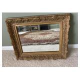 Beveled Mirror in Plaster Frame
