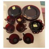 Red Glass Dessert Set