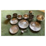 Lot of Pewter Ware Plates Bowls Mugs & Spoon
