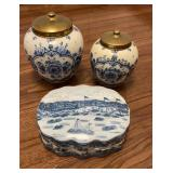 Delft Canisters & Unmarked Covered Bowl