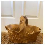 Burl Wood Carved Basket