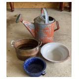 Watering Can Enamelware & Copper Bucket