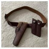 Leather Belt & Holster monogrammed Belt