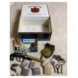 Cigar Box W/ Lighter Cases Keys & More
