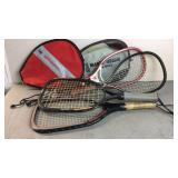 Lot of racquetball rackets