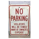 "Metal No Parking sign 18""x12"""