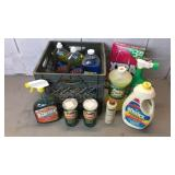 Lot of household cleaners dish soap, comet,