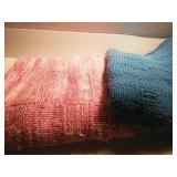 Pair of Knit Blankets approx 64x51 & 48x48