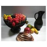 Vintage Black Metal Fruit Bowl with Assorted