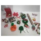 Assorted Holiday Costume Jewelry - Brooches,