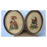 2 Matching Vintage Oval Framed Needle Point Wall