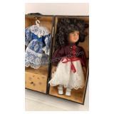 """Porcelain doll in case 12"""""""