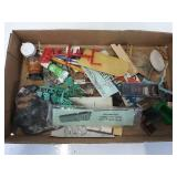 Assorted vintage parts figures paint brushes and