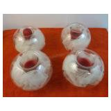 4 Decorative Sphere Candle Holders 5 1/4