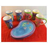 10 Piece Decorative Ceramic Cup and Plate set 6