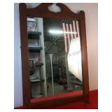 Vintage Wooden Framed Wall Mirror 33 3/4 x 21 1/2