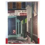 Vintage Clam Bar Painting by T Rowell 25 x 36