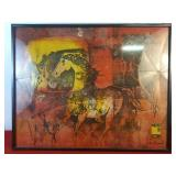 Abstract Framed Picture Of Horse 29 1/4 x 15 1/4