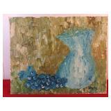 Vintage Original Painting Of Vase By Chris 16 x