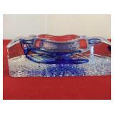 Decorative Crystal Ashtray 4 1/2 x 4 1/2 x 1 1/2