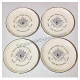 Set of 4 Vintage Masonic Commeritive Plates
