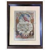 "Vintage Framed Pledge of Allegiance 13""x16"""