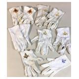Lot of White Masonic Gloves