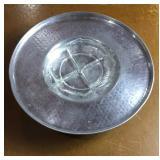 Aluminum Lazy Susan W/ Relish Dish Chipped
