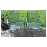 "2 Vintage Metal Patio Chairs 33"" Tall 22"" Wide"