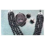 Vintage Black Beaded 4 Strand Necklace Earrings