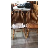 "2 Oak Dining Chairs Spindle Backs 36"" Tall"